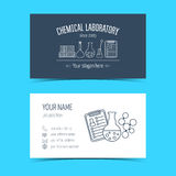 Business cards for chemical laboratory and scientific companies. Promotional products. Vector Stock Images