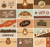 Business cards of coffee. Set of business cards on the theme of tea and coffee Stock Photo