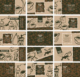 Business cards on coffee and tea stock illustration