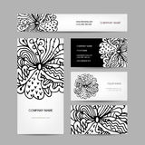 Business cards collection, abstract floral design Royalty Free Stock Photo