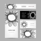 Business cards collection, abstract floral design Stock Photos