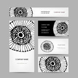 Business cards collection, abstract floral design Stock Photography