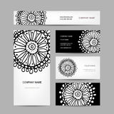 Business cards collection, abstract floral design Royalty Free Stock Image