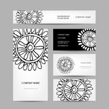 Business cards collection, abstract floral design Stock Image