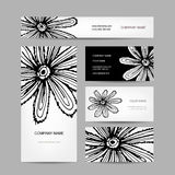 Business cards collection, abstract floral design Stock Images