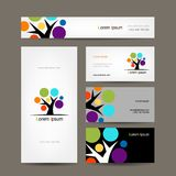 Business cards collection with abstract tree for Royalty Free Stock Photo