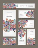 Business cards collection, abstract waves design Royalty Free Stock Photos
