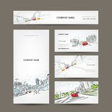 Business cards collection, cars on city road for Stock Images