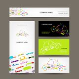 Business cards collection with cars sketch for Stock Images