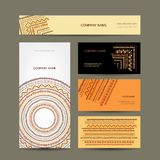 Business cards collection, ethnic ornament for Royalty Free Stock Images