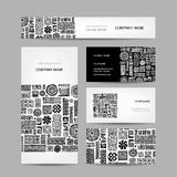 Business cards collection, ethnic ornament for Royalty Free Stock Photography