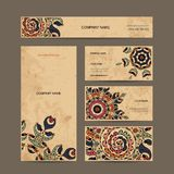 Business cards collection, floral design Royalty Free Stock Images