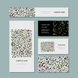 Business cards collection, floral design Royalty Free Stock Photos
