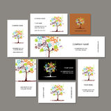 Business cards collection, floral tree design Stock Photos
