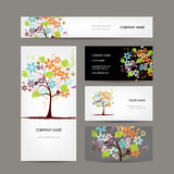 Business cards collection, floral tree design Royalty Free Stock Image