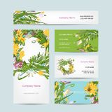 Business cards collection, floral wreath design Stock Photo