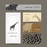 Business cards collection, giraffe pattern Stock Photo