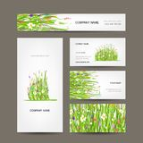 Business cards collection, green meadow design. This is file of EPS10 format stock illustration