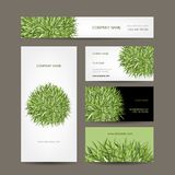 Business cards collection, green meadow design Stock Images