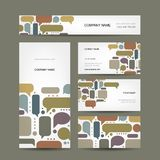 Business cards collection with infographic frames Stock Images
