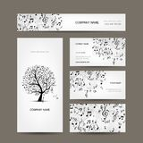 Business cards collection with music design Stock Images