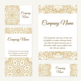 Business cards collection. Ornament for your design with lace mandala. Vector background. Indian, Arabic, Islam motifs. Stock Photos