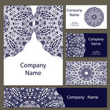 Business cards collection. Ornament for your design with lace mandala. Vector background. Indian, Arabic, Islam motifs. vector illustration