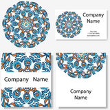 Business cards collection. Ornament for your design with lace mandala. Vector background. Indian, Arabic, Islam motifs. Royalty Free Stock Photography
