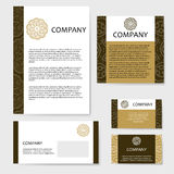 Business cards collection. Ornament for your design with lace mandala. Royalty Free Stock Photo