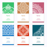 Business cards collection. Ornament for your design with lace mandala. Vector background. Indian, Arabic, Islam motifs. Stock Images