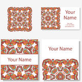 Business cards collection. Ornament for your design with lace mandala. Vector background. Indian, Arabic, Islam motifs. Stock Photography