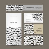 Business cards collection, people crowd design royalty free illustration