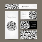 Business cards collection, people crowd design stock illustration