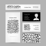 Business cards collection, people crowd design Stock Photography