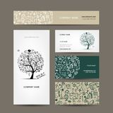 Business cards collection with school sketch for Royalty Free Stock Image