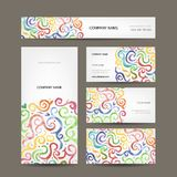 Business cards collection with watercolor waves Royalty Free Stock Image