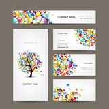 Business cards collection with web tree design Stock Images