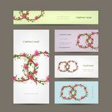 Business cards collection, wedding design Stock Images