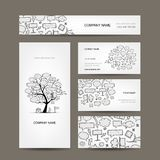Business Cards Collection With Frames Tree Design Royalty Free Stock Photography