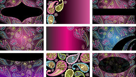 Business cards. With colored paisley pattern Royalty Free Stock Photo