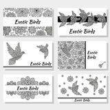 Business cards with creative decorative birds and flowers. Black and white colors. Royalty Free Stock Photography