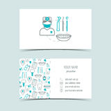 Business cards for dental clinic. Promotional products. Line icons. Flat design. Vector Royalty Free Stock Photography