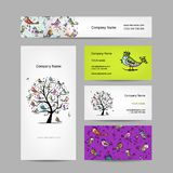 Business cards design, art tree with funny birds Royalty Free Stock Photography