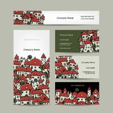 Business cards design, cityscape sketch Royalty Free Stock Image