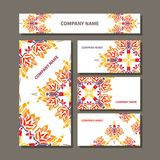 Business cards design. Business cards design with colorful decorative ornament Royalty Free Stock Image