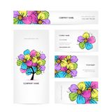Business cards design with colorful floral tree Stock Photos