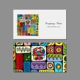 Business cards design, ethnic floral ornament Royalty Free Stock Image