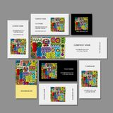 Business cards design, ethnic floral ornament Stock Photo