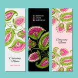Business cards design, floral background vector illustration