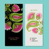 Business cards design, floral background stock illustration